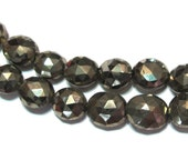 Pyrite faceted Ovals PREMIUM quality half strand
