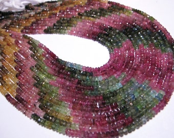 AAA Watermelon tourmaline faceted rondells whole strand