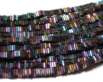 Half strand Tiny Pyrite square heishi rainbow coated beads