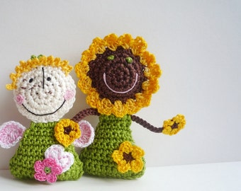 Flower Ornament - Sunflower Ornament - Crochet Ornament - Sunflower Doll - Crochet Doll - Crochet Toy - Gift for Her - Gift for Girl