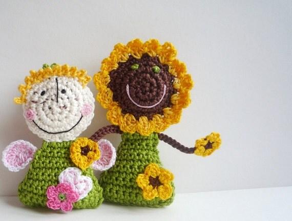 Miniature Crochet Doll - Sunflower Doll Ornament - Crochet Fairy Doll - Fairy Doll Toy - Baby Shower Gift - Stocking Stuffer - Gift under 20