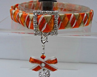 Cat Collar Large Breakaway Style in Orange and Cream