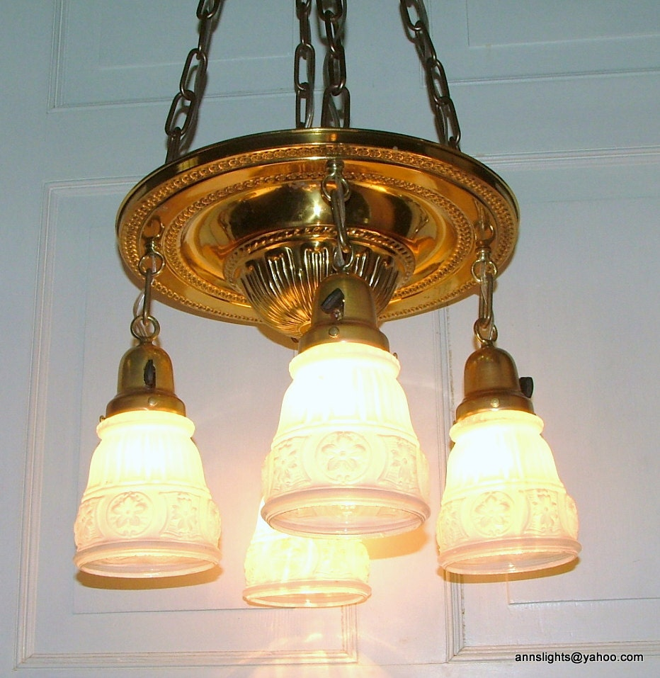 Antique Lighting Vintage Brass Pan 4 Light Hanging Pendant