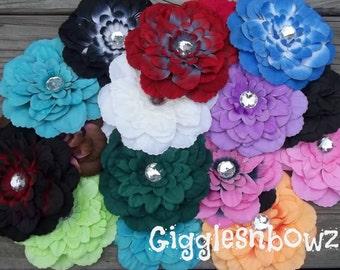 Set of TWeLVe Rhinestone Centered Silk DaHLiA Flowers- ASSoRTMeNT