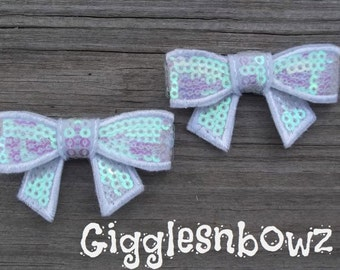 New to Shop 2 inch SEQUIN BOW Appliques- Set of 2 Iridescent White
