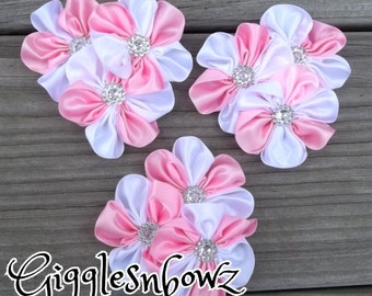 PiNK and WHiTE Embellished Satin CLuSTeR Flowers- SeT of 3 NEW  2.5-3 inch Size