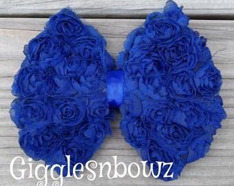 New to Shop ROYAL BLUE Shabby Vintage look Chiffon Rose Mesh Fabric BOW