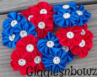 4th of JuLY PeTiTE SiZE Set of 6 Embellished Satin CLuSTeR Flowers- ReD and RoYAL BLUE-2.5 inch Size