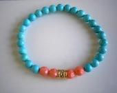 Friendship Bracelet, Turquoise and Coral Bracelet, Best Friend Birthday