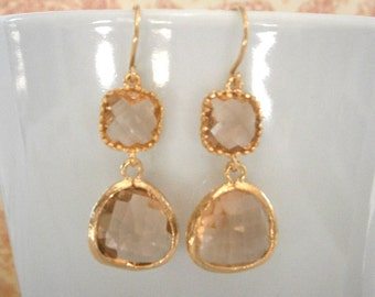 Blush Earrings, Champagne Glass Earrings, Gold Earrings, Bridesmaid Earrings, Wedding Jewelry
