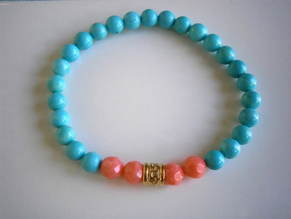 Friendship Bracelet, Turquoise and Coral Bracelet, Best Friend Birthday