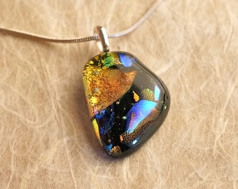 Handmade Dichroic Fused Glass Silver Pendant Necklace