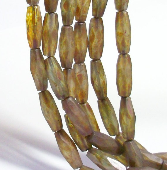 Czech Glass 15x6mm Faceted Rice - Matte Peridot Picasso  - 12 beads