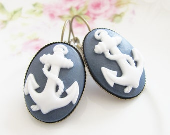 Navy Blue Anchor Earrings - Nautical Navy and White Anchor Antique Brass Lever Back Earrings - Preppy, Wedding, Bridesmaid, Bridal, Nautical