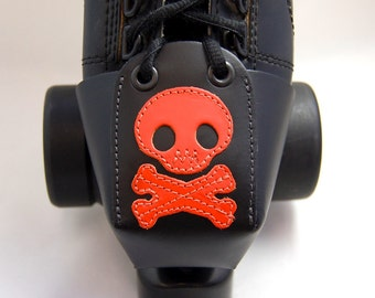 Leather Skate Toe Guards with Orange Skulls and Crossbones