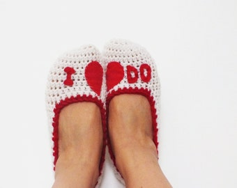 I  Do White Yarn Heart Felt Crochet Womens Slippers, Ballet Flats, House Shoes