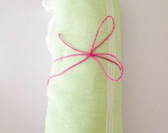 Peshtemal Turkish Towel Green and White Stripe Tasseled Eco Friendly
