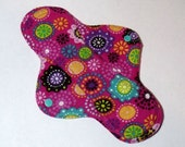 Menstrual Cloth Mama Cloth Mama Pad Reusable Sanitary Pad hot pink with mod flower pattern - size S to M