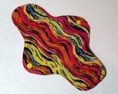 Mama Cloth Reusable Menstrual Sanitary Pad orange yellow pink blue abstract print - size SMALL to MEDIUM