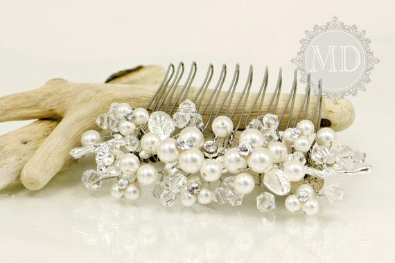 Nancy Swarovski Elements Bridal Hair Comb / Head piece with beautiful flowers and leaves motives / Classic Wedding Jewelry