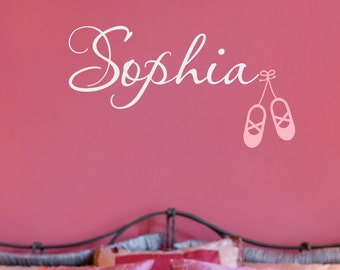 Ballet Name Decal, Girls Wall Decal, Dance Wall Decal, Girls Bedroom Decor, Kids Personalized Name Decals