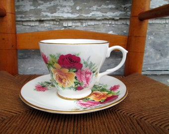 Vintage Teacup Tea Cup and Saucer Floral English bone China Red pink yellow roses