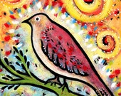"""Whimsical Bird Archival  Print - 8"""" x 10""""   - Shimmer and Shine"""