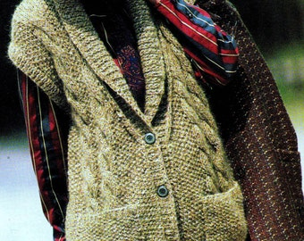 INSTANT DOWNLOAD PDF Vintage Knitting Pattern  Chunky Tweed Cable and Moss Stitch Seed Stitch Waistcoat Vest