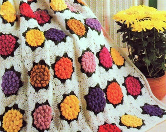 INSTANT DOWNLOAD PDF Vintage Crochet Pattern  for Zinnia Granny Square Afghan Throw Blanket Retro