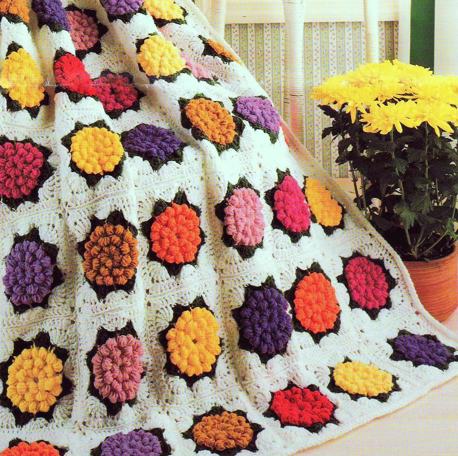 INSTANT DOWNLOAD PDF Vintage Crochet Pattern for Zinnia