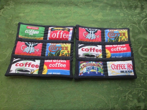 old fashioned coffee tins set of 2 potholders hot pads