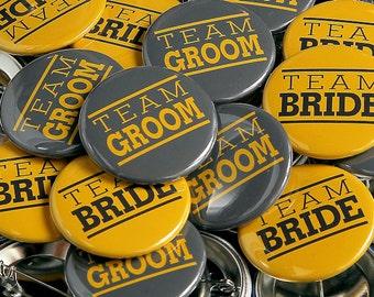 Team Bride Team Groom Grey Yellow - 100 Pack - Buttons Pinbacks 1 1/2 inch Wedding Favors