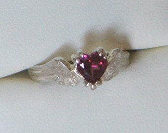 HEARTBEAT Remastered Sterling Silver and Rhodolite Garnet Angel Fairy Wings With a Heart- Ready to Ship