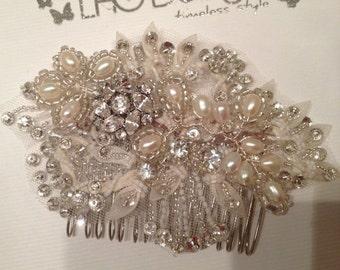 Organza bridal hair comb, sequin, pearl, rhinestone, pearl bridal hair comb, wedding hair accessory, vintage wedding, bridal headpiece