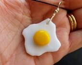 Egg necklace fused glass fried egg pendant handmade