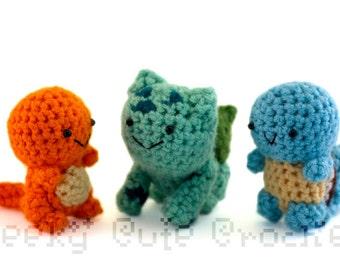 Kanto Starters Fire Water Grass Amigurumi Crochet Stuffed Plush Toy