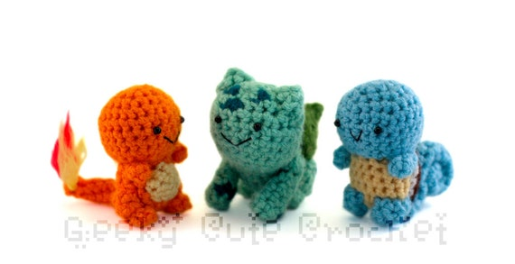 Kanto Starters Fire Water Grass Amigurumi Crocheted Plush Toys
