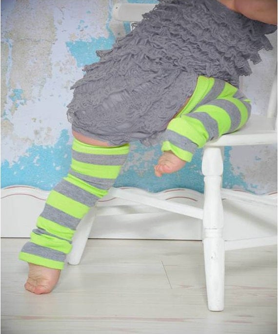 Lime and Gray Striped Baby Toddler Leg Warmers