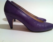 Vintage 80s Leather Purple Evan Piccone Heels Size 7M