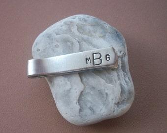 Personalized Monogram Aluminum Tie Bar / Tie Clip - Wedding Party - Groomsman Gift