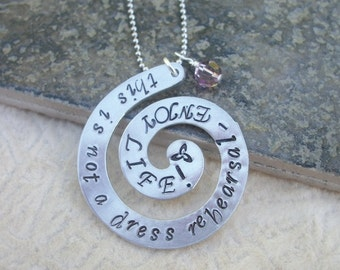 Expressions - Jewelry With A Statement - Aluminum Swirl Necklace - Celtic Symbol - Special Quote - Favorite Saying