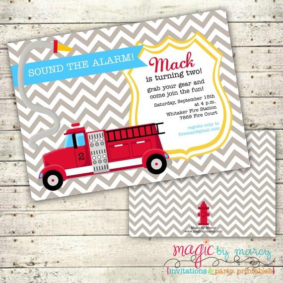 Digital Printable Doublesided Firetruck Birthday Invitations