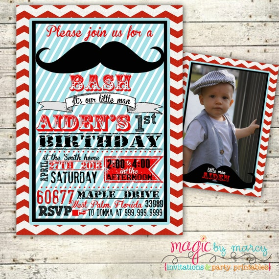 Retro Mustache Bash  First  Birthday digital Invitation