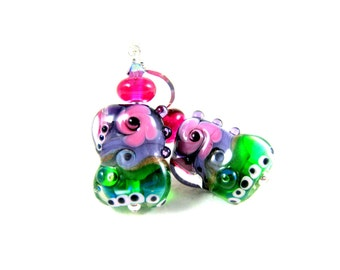 Colorful Funky Earrings, Unique Earrings, Pink Purple Green Earrings, Lampwork Earrings, Glass Earrings, Dangle Jewel Tones - Abracadabra