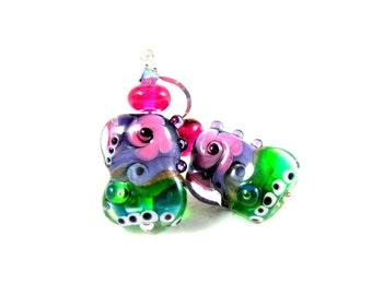 Colorful Funky Earrings, Unique Earrings, Pink Purple Green Earrings, Lampwork Earrings, Glass Earrings, Dangle Jewel Tones - Abracadabra