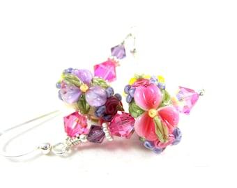 Colorful Pastel Floral Earrings, Spring Earrings, Lampwork Earrings, Pink Lavender Yellow Earrings, Flower Earrings, Dangle Earrings - Fleur