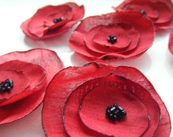 Red wedding table decoration flowers, silk dupion fabric flowers x 10 POPPY