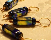 Blue Gold Stitch Markers