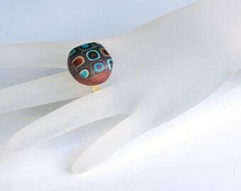Handmade Gustav Klimt Ring, Polymer Clay Ring, Round Ring, Handmade, Jewelry, OOAK, Klimt, Golden Ring, Gift for Her, Mom Gift
