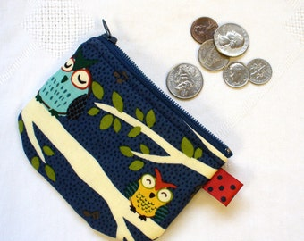 Mini Coin Purse Sleepy Owls on Branch Zipper Change Purse Handmade Fabric Coin Purse Navy Blue MTO
